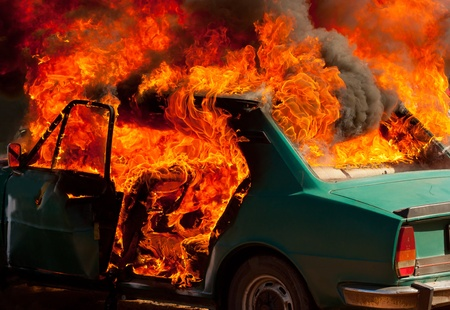 Exploded parking car on fire Stock Photo - 13417327