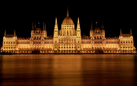 The Hungarian Parliament Building in Budapest at night - it is the seat of the National Assembly of Hungary, one of Europes oldest legislative buildings Stock Photo