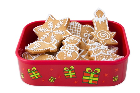 Homemade Christmas Ginger and Honey cookies in christmas gift box. Star, fir tree, snowflake, fish, snowman - shapes. Stock Photo