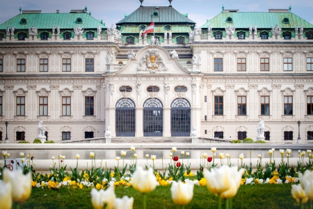 Belvedere Palace, Vienna, Austria with spring tulips