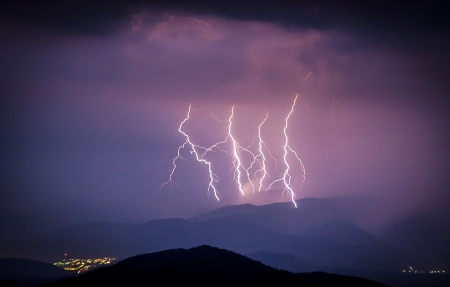 Smashing lightning during a storm over the small city in the valley Stock Photo - 21541840