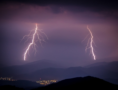 Smashing lightning during a storm over the small city in the valley
