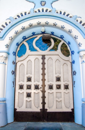 Detail of the doors - the entrance to the Church of Saint Elizabeth called as Blue Church, Bratislava, Slovakia Stock Photo