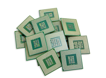 Closeup picture - heap of old unused CPU processors
