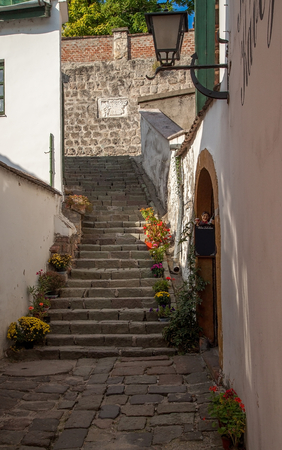 Typical European Alley in Szentendre - beautiful stairs in a narrow streets, Hungary
