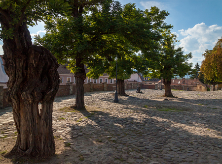 Courtyard of Catholic Parish Church (Keresztelo Szent Janos Plebania Templom), Szentendre, Hungary Stock Photo