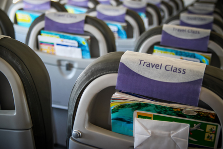 Interior inside of the plane without passengers - travel class