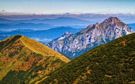 On a mountain ridge of Low Fatra, Velky Rozsutec mountain in the background, Mala Fatra mountain range ( Carpathians ), Slovakia Stock Photo