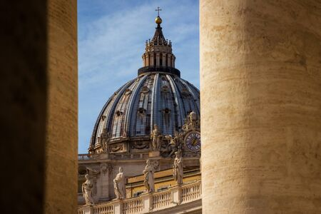 View of St. Peter's dome in Vatican. Rome, Italy.