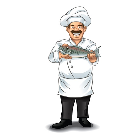 Chef and fish Stock Vector - 18920162