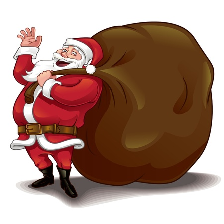 x mass: Santa clause with huge sack Illustration