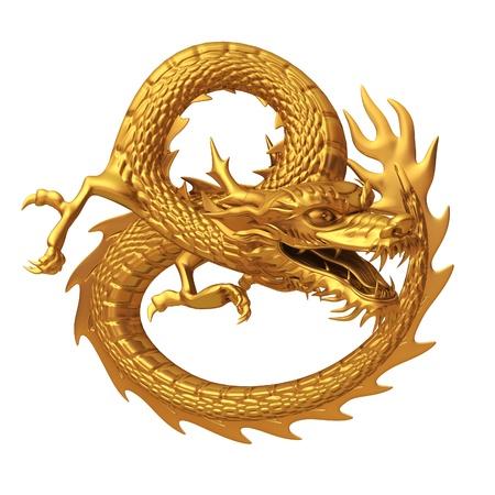 Serie de oro del dragón chino aislado en el fondo blanco Foto de archivo - 20322173