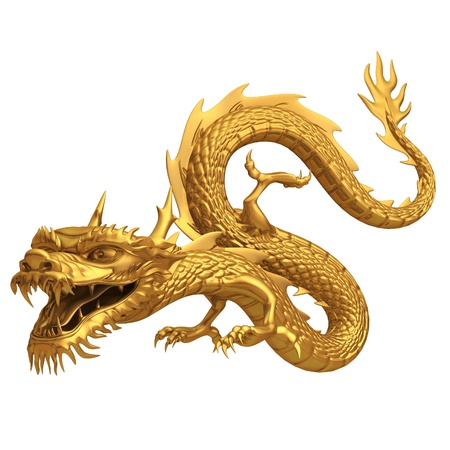 Series of Golden Chinese dragon