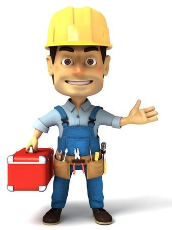 tradesmen: handyman holding tools box