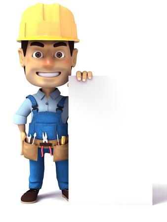 servicing: handyman holding blank white paper