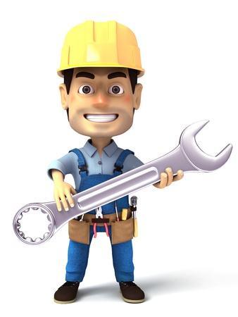 servicing: handyman holding wrench Stock Photo