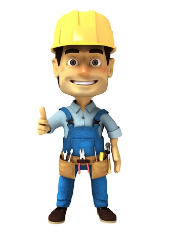 3d handyman with thumb up photo