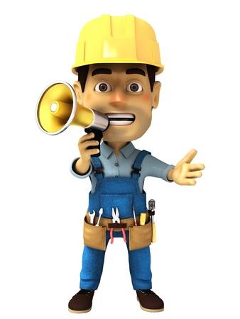 3d handyman with megaphone  photo