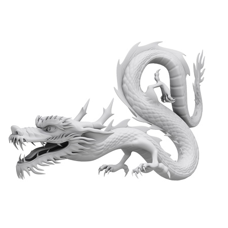 flying dragon: 3d render dragon clay texture