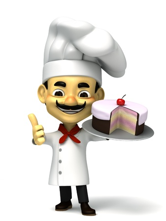 3d cute chef with cake photo