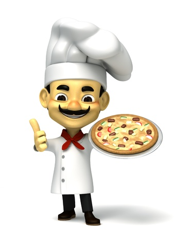 3d cute chef with pizza photo