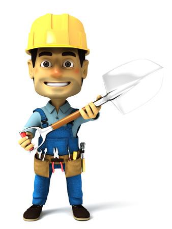 handy man: handy man with shovel