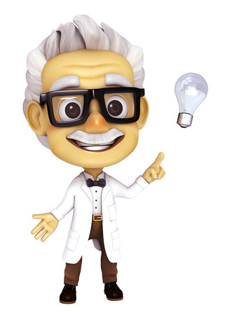 zooming: professor with idea Stock Photo