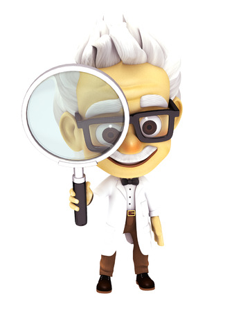 zooming: professor with glass Stock Photo