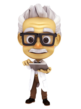 oldman: professor with tablet Stock Photo
