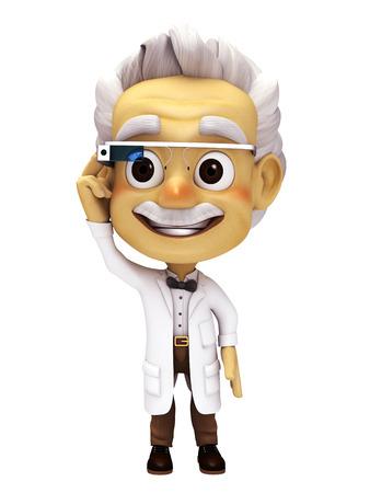 oldman: professor with smart glass