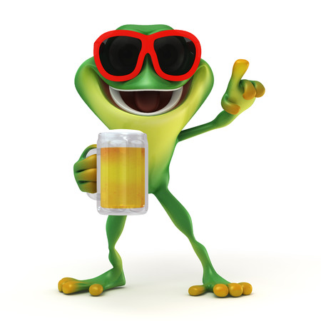 the frog prince: Frog relax with beer  Stock Photo
