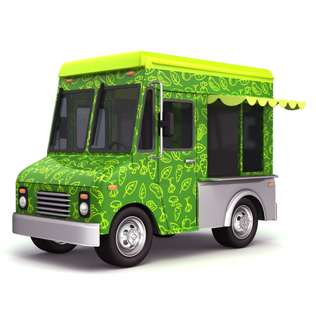 Eco green food truck photo