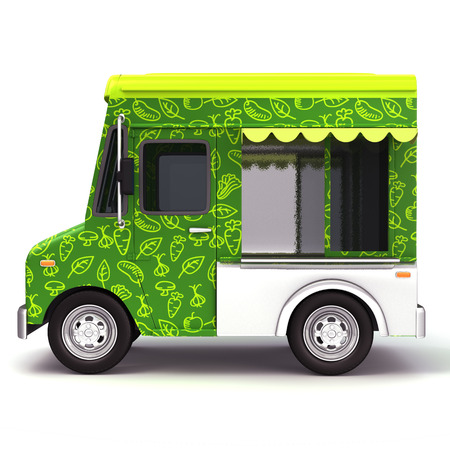 Eco green food truck side photo