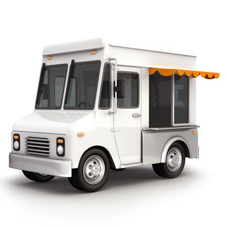 白いフード トラック 写真素材