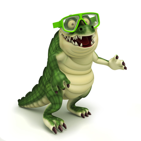 skin diving: Croc with goggle