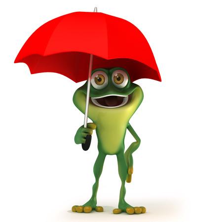 amphibian: cartoon Frog with  umbrella