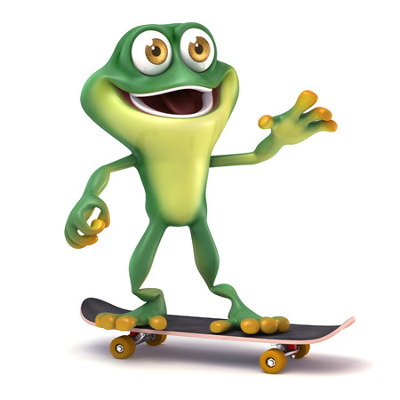 skate board: cartoon Frog play skate board Stock Photo