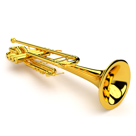 sound of music: 3d illustration of Trumpet Stock Photo