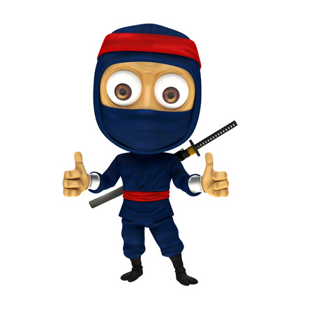thumbup: blue ninja with thumbup Stock Photo