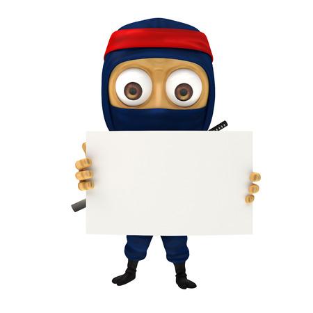 showing: blue ninja showing blank paper