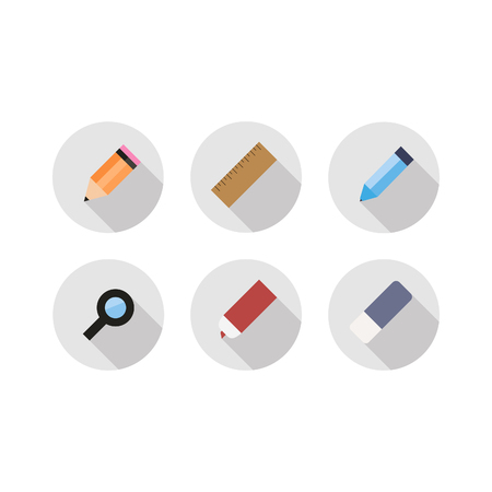 general manager: Vector - Office icons flat set with shadow