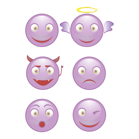 grimace: Vector - set of smiling faces on a white background