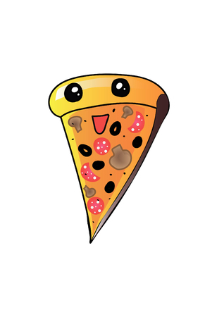 pizza crust: Vector - Happy pizza slice vector character Illustration