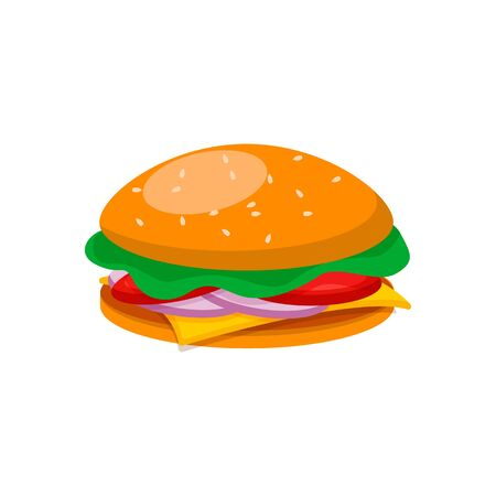 Burger with beef, cheese, lettuce, tomato, cucumber and onion in flat style. Fast food meal. American food. Cartoon vector illustration. Ilustración de vector