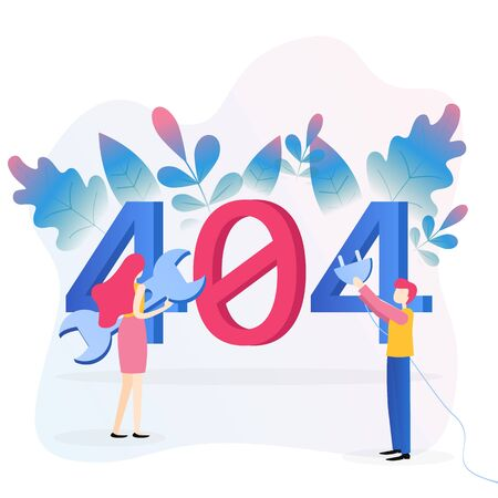 Concept 404 Error Page. File not found for web page, banner, presentation, social media, documents, cards, posters. Website maintenance error, web page under construction. Flat vector illustration.