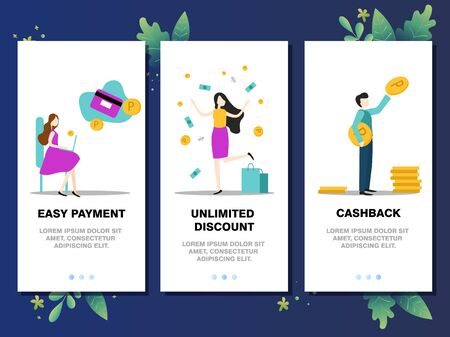 Mobile app templates concept vector illustration flat design. Easy payment, unlimited discount, cashback, online shopping concept. 向量圖像