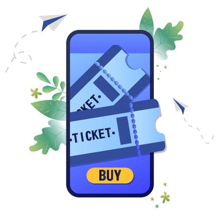 Vector illustration buying tickets online, booking, Buy Tickets on the internet with a mobile phone
