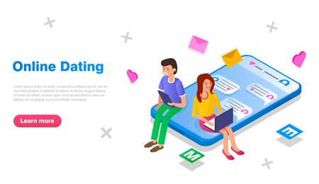 The guy and the girl communicate through a dating site