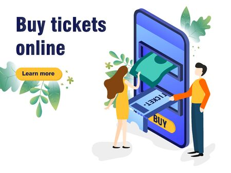 Buy Tickets on the internet with a mobile phone, schedule design tickets are printed from the phone 向量圖像