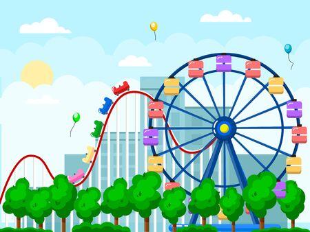 Amusement park, urban landscape with carousels, roller coaster.